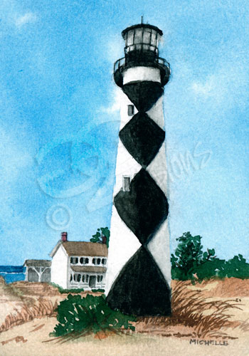 cape lookout nc lighthouse watercolor painting.