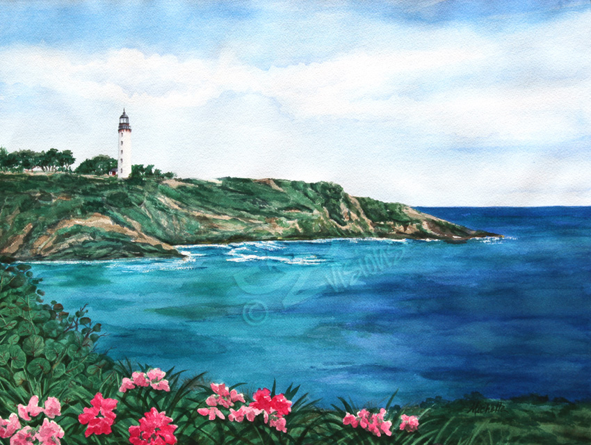 g2g visions island light watercolor painting image.