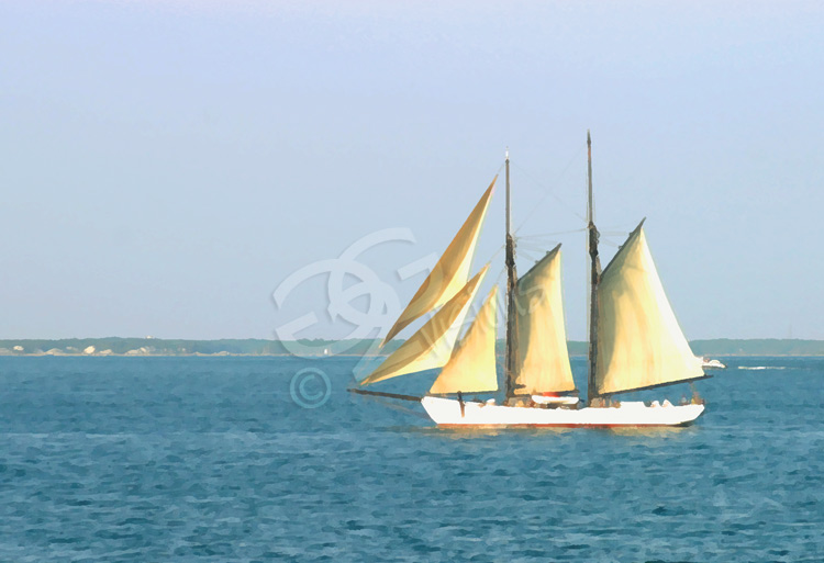 photograph of boat sailing offshore at marthas vineyard.